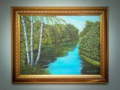 "Картина ""Три берёзки у реки"". Холст , масло. Нестеров."