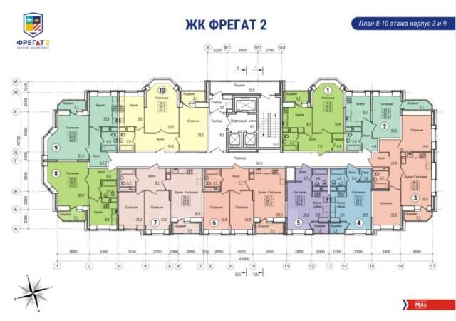 2-комнатная, улица Нейбута 17 кор. 3. 64, 71 микрорайоны, застройщик, 56 кв.м.