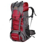 Туристический рюкзак Aeroline на 85+5 л +чехол, цвет бордовый