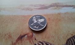 Ботсвана. 50 тхебе 2001 г. Изображение орлана-белохвоста, ловящего рыбу