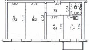 3-комнатная, Краснофлотский район. Краснофлотский, агентство, 70 кв.м.