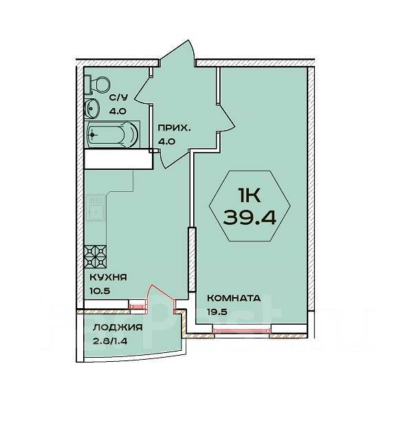 1-комнатная, улица имени 40-летия Победы 132. 40 лет Победы, агентство, 40 кв.м.