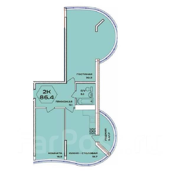 2-комнатная, улица имени 40-летия Победы 132. 40 лет победы, агентство, 87 кв.м.