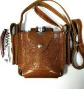 Фляга в футляре КК-16-2 (480мл, кожа шора, нож, 2 кармана) 11-4-189