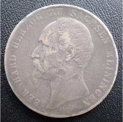 1 талер.1860г. Саксен-Мейнинген. Бернхард II. Серебро. RARE. VF+.