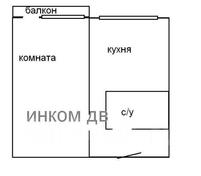 1-комнатная, улица Интернациональная 62. Чуркин, 34кв.м. План квартиры