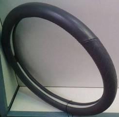Чехол (оплетка) на руль КОЖА серая M 37-38 см арт NP-551