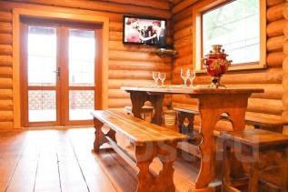Уютная баня на дровах с террасой и мангалом.