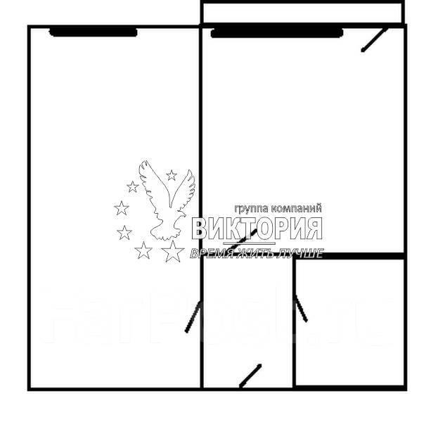 1-комнатная, улица Толстого 4. 17й км, агентство, 34 кв.м. План квартиры