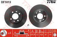 Диск тормозной передний RENAULT LOGAN, SANDERO DF1013 trw DF1013 в наличии