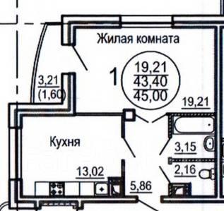1-комнатная, улица Комсомольская 85. Центральный, агентство, 43 кв.м.