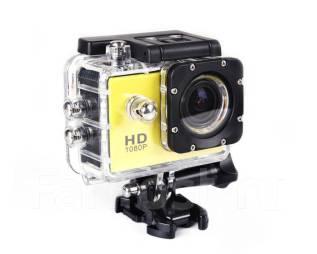 Экшн камера HD Жёлтая с боксом и креплениями. 5 - 5.9 Мп, с объективом