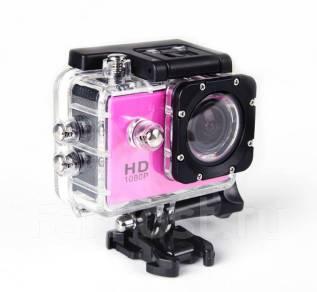 Экшн камера HD Розовая с боксом и креплениями. 5 - 5.9 Мп, с объективом