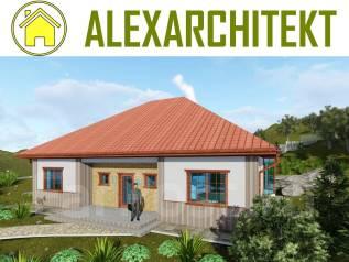 710 Za AlexArchitekt Экономичный одноэтажный дом. 100-200 кв. м., 1 этаж, 4 комнаты, бетон