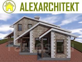 """029 Zz"" AlexArchitekt Проект двухэтажного дома в Хабаровске. 200-300 кв. м., 2 этажа, 5 комнат, бетон"