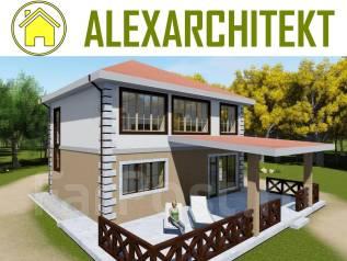 Проект дома A z 702x AlexArchitekt Завораживающий двухэтажный дом. 100-200 кв. м., 2 этажа, 5 комнат, бетон