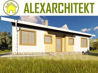 707 Z AlexArchitekt Уютный одноэтажный дом. до 100 кв. м., 1 этаж, 4 комнаты, комбинированный