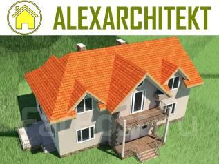 041 Zz AlexArchitekt Двухэтажный дом с мансардным этажом. 200-300 кв. м., 2 этажа, 5 комнат, бетон