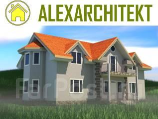 041 Z AlexArchitekt Двухэтажный дом с мансардным этажом. 200-300 кв. м., 2 этажа, 5 комнат, бетон