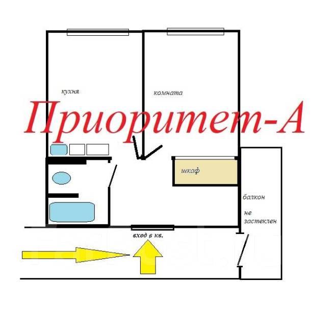 1-комнатная, улица Марины Расковой 2а. Борисенко, 35кв.м. План квартиры