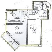 2-комнатная, улица Владикавказская 3. Луговая, застройщик, 64кв.м. План квартиры