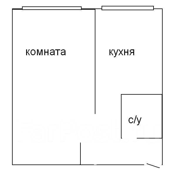 1-комнатная, улица Адмирала Юмашева 4. Баляева, 34кв.м. План квартиры