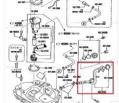 Горловина топливного бака. Ford Ixion, CP8WF Ford Laser, BJEPF, BJ5PF, BJ5WF, BJ8WF, BJ3PF Mazda Premacy, CPEW, CP8W Mazda Familia, BJEP, BJ8W, BJ5W...