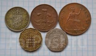 Англия Набор монет 1 шиллинг 20 пенсов 1 пенни и др. В лоте 5 монет. Под заказ