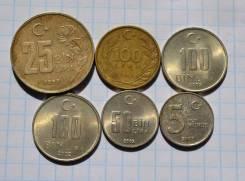 Турция 100 лир 25 бин лир 5 курус и др. В лоте 6 монет