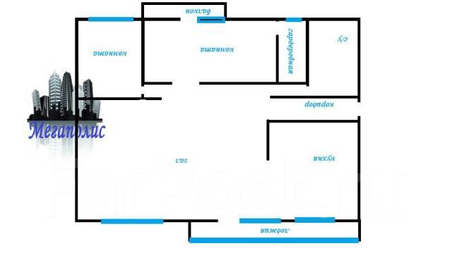 3-комнатная, улица Овчинникова 6. Столетие, агентство, 86 кв.м. План квартиры