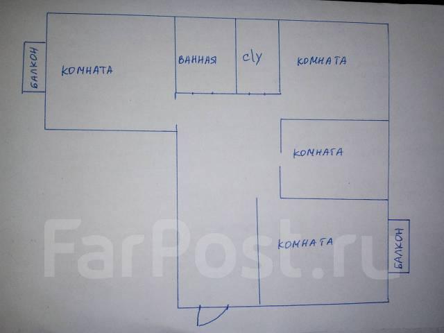3-комнатная, проезд Новоникольский 4. 3-й км, агентство, 70 кв.м. План квартиры
