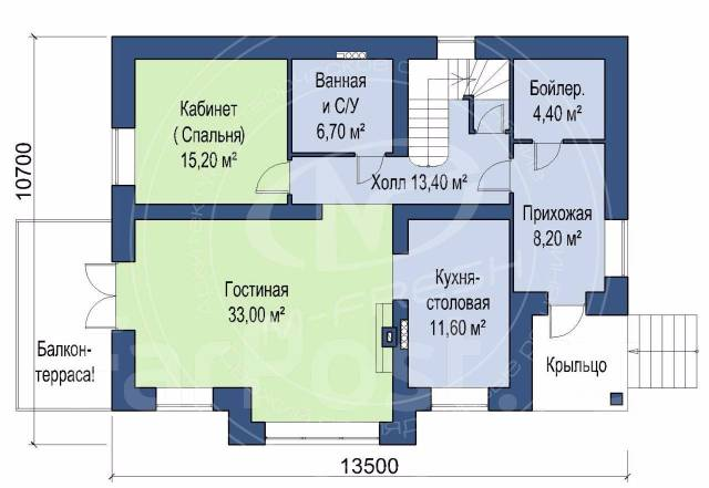 M-fresh Anton Style plus! (Доработанный проект с цоколем! Посмотрите! ). 300-400 кв. м., 1 этаж, 5 комнат, бетон