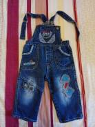 Полукомбинезоны джинсовые. Рост: 68-74, 74-80 см