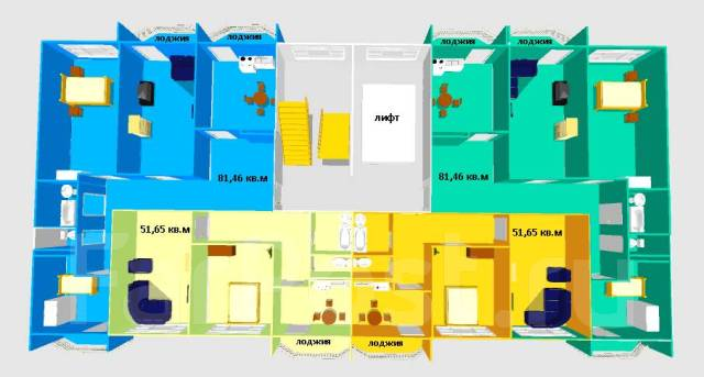 2-комнатная, улица Нейбута 81а. 64, 71 микрорайоны, застройщик, 51 кв.м.