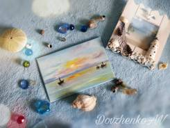 Мини-картина маслом, открытка ручной работы 10*15 см