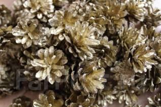 Шишки для декора и творчества золото