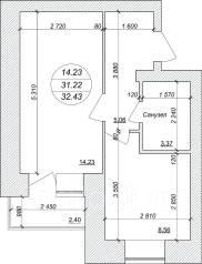 1-комнатная, ул.Трехгорная. Краснофлотский, застройщик, 32 кв.м.