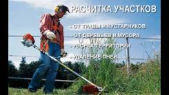 Валка, формовка, стрижка деревьев и кустов, окос травы, уборка мусора.