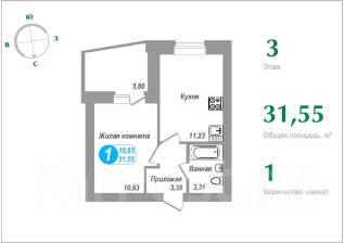 1-комнатная, улица Морошковая 17. Железнодорожный, частное лицо, 31 кв.м.