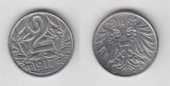 Австрия 2 Геллера 1917 год (иностранные монеты)