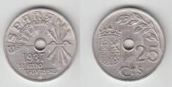 Испания 25 Сентимо 1937 год (иностранные монеты)