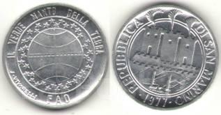 Сан Марино 1 ЛИРА 1977 год (иностранные монеты)