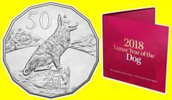 Австралия 50 центов 2018 Год Собаки. Собака. Лунный календарь
