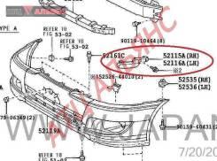 Крепление бампера TOYOTA IPSUM, ACM26, 2AZFE, 5211644040, 4340000003