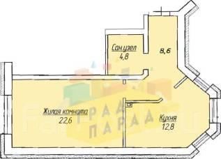1-комнатная, улица Бородинская 99. Краснофлотский, агентство, 49 кв.м.