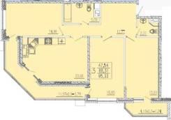 3-комнатная, улица Каляева 263. ФМР, агентство, 95 кв.м.