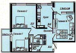 3-комнатная, улица Гаражная 150. ФМР, агентство, 80 кв.м.