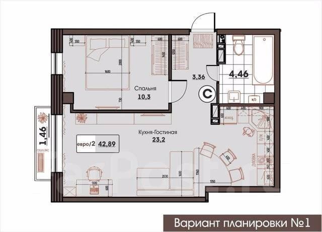 2-комнатная, улица Махалина 10. Центр, застройщик, 42 кв.м. План квартиры