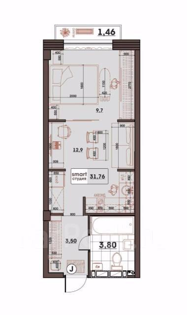 1-комнатная, улица Махалина 10. Центр, застройщик, 32 кв.м. План квартиры