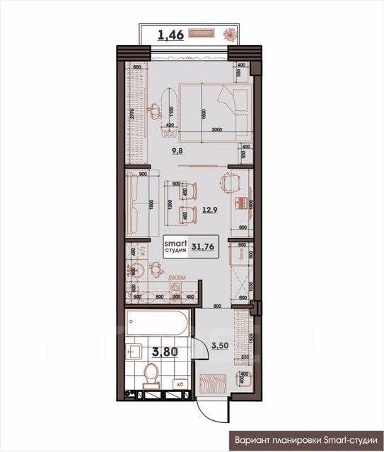 1-комнатная, улица Махалина 10. Центр, застройщик, 31 кв.м. План квартиры